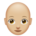 Woman: Medium-Light Skin Tone, Bald on Emojipedia 11.1