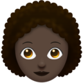 Woman: Dark Skin Tone, Curly Hair on Emojipedia 11.1