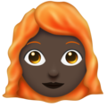 Woman: Dark Skin Tone, Red Hair on Emojipedia 11.1