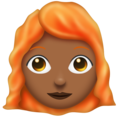 Woman: Medium-Dark Skin Tone, Red Hair on Emojipedia 11.1