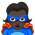Woman Superhero: Dark Skin Tone on Emojipedia 11.1