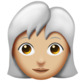 Woman: Medium-Light Skin Tone, White Hair on Emojipedia 11.1