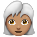 Woman: Medium Skin Tone, White Hair on Emojipedia 11.1