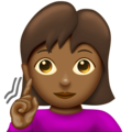 Deaf Woman: Medium-Dark Skin Tone on Emojipedia 12.0