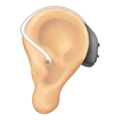 Ear With Hearing Aid: Light Skin Tone on Emojipedia 12.0
