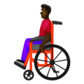 Man in Manual Wheelchair: Dark Skin Tone on Emojipedia 12.0