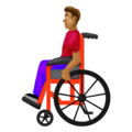 Man in Manual Wheelchair: Medium Skin Tone on Emojipedia 12.0
