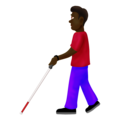 Man With Probing Cane: Dark Skin Tone on Emojipedia 12.0