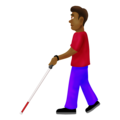 Man With Probing Cane: Medium-Dark Skin Tone on Emojipedia 12.0