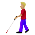 Man with White Cane: Medium-Light Skin Tone on Emojipedia 12.0