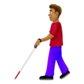 Man With Probing Cane: Medium Skin Tone on Emojipedia 12.0