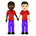 Men Holding Hands: Dark Skin Tone, Light Skin Tone on Emojipedia 12.0