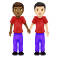 Men Holding Hands: Medium-Dark Skin Tone, Light Skin Tone on Emojipedia 12.0