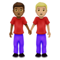 Men Holding Hands: Medium-Dark Skin Tone, Medium-Light Skin Tone on Emojipedia 12.0