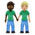 People Holding Hands: Dark Skin Tone, Medium-Light Skin Tone on Emojipedia 12.0