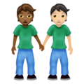 People Holding Hands: Medium-Dark Skin Tone, Light Skin Tone on Emojipedia 12.0