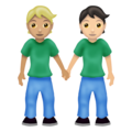 People Holding Hands: Medium-Light Skin Tone, Light Skin Tone on Emojipedia 12.0
