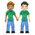 People Holding Hands: Medium Skin Tone, Light Skin Tone on Emojipedia 12.0