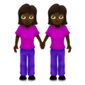 Women Holding Hands: Dark Skin Tone on Emojipedia 12.0