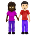 Woman and Man Holding Hands: Dark Skin Tone, Light Skin Tone on Emojipedia 12.0