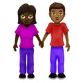 Woman and Man Holding Hands: Dark Skin Tone, Medium-Dark Skin Tone on Emojipedia 12.0