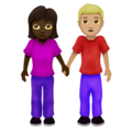 Woman and Man Holding Hands: Dark Skin Tone, Medium-Light Skin Tone on Emojipedia 12.0