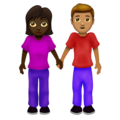 Woman and Man Holding Hands: Dark Skin Tone, Medium Skin Tone on Emojipedia 12.0