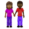 Woman and Man Holding Hands: Medium-Dark Skin Tone, Dark Skin Tone on Emojipedia 12.0