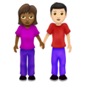 Woman and Man Holding Hands: Medium-Dark Skin Tone, Light Skin Tone on Emojipedia 12.0