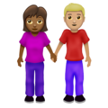 Woman and Man Holding Hands: Medium-Dark Skin Tone, Medium-Light Skin Tone on Emojipedia 12.0