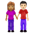 Woman and Man Holding Hands: Medium Skin Tone, Light Skin Tone on Emojipedia 12.0