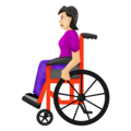 Woman in Manual Wheelchair: Light Skin Tone on Emojipedia 12.0