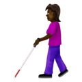 Woman with White Cane: Dark Skin Tone on Emojipedia 12.0