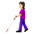 Woman with White Cane: Light Skin Tone on Emojipedia 12.0