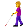 Woman With Probing Cane on Emojipedia 12.0