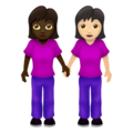 Women Holding Hands: Dark Skin Tone, Light Skin Tone on Emojipedia 12.0