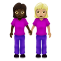Women Holding Hands: Dark Skin Tone, Medium-Light Skin Tone on Emojipedia 12.0