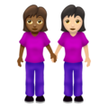 Women Holding Hands: Medium-Dark Skin Tone, Light Skin Tone on Emojipedia 12.0