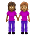 Women Holding Hands: Medium-Dark Skin Tone, Medium Skin Tone on Emojipedia 12.0