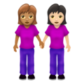 Women Holding Hands: Medium Skin Tone, Light Skin Tone on Emojipedia 12.0