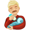 Man Feeding Baby: Medium-Light Skin Tone on Emojipedia 13.0