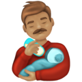 Man Feeding Baby: Medium Skin Tone on Emojipedia 13.0