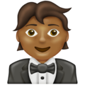 Person in Tuxedo: Medium-Dark Skin Tone on Emojipedia 13.0