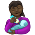Woman Feeding Baby: Dark Skin Tone on Emojipedia 13.0