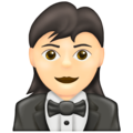 Woman in Tuxedo: Light Skin Tone on Emojipedia 13.0