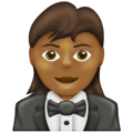 Woman in Tuxedo: Medium-Dark Skin Tone on Emojipedia 13.0