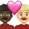 Couple with Heart: Man, Man, Dark Skin Tone, Medium-Light Skin Tone on Emojipedia 13.1