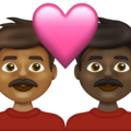 Couple with Heart: Man, Man, Medium-Dark Skin Tone, Dark Skin Tone on Emojipedia 13.1