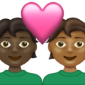 Couple with Heart: Person, Person, Dark Skin Tone, Medium-Dark Skin Tone on Emojipedia 13.1