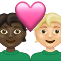 Couple with Heart: Person, Person, Dark Skin Tone, Medium-Light Skin Tone on Emojipedia 13.1